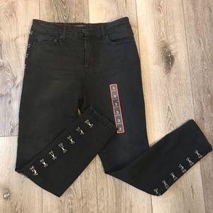 NWT Black Heart Skinny Black Jeans Pants Stretch 3
